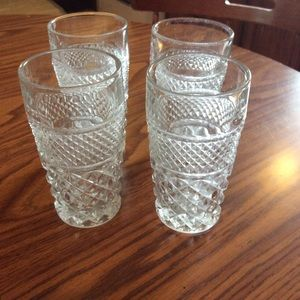 Vintage heavy clear glass etched drink glasses +
